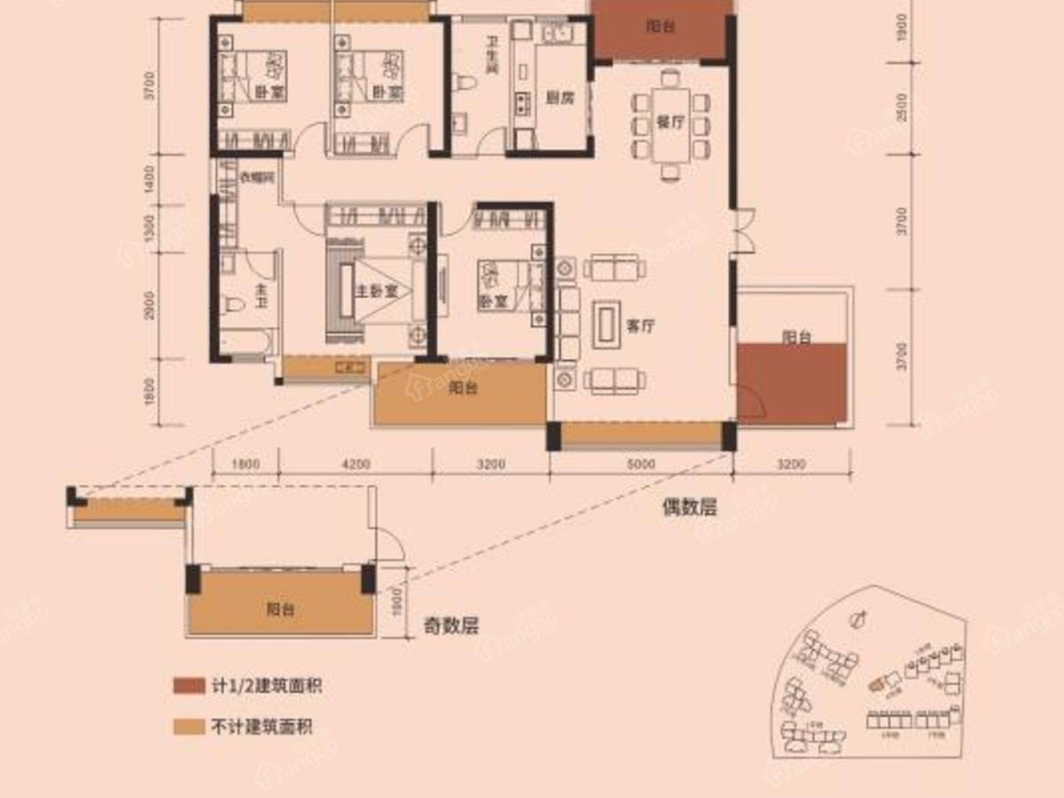 又一城5室2厅2卫户型图