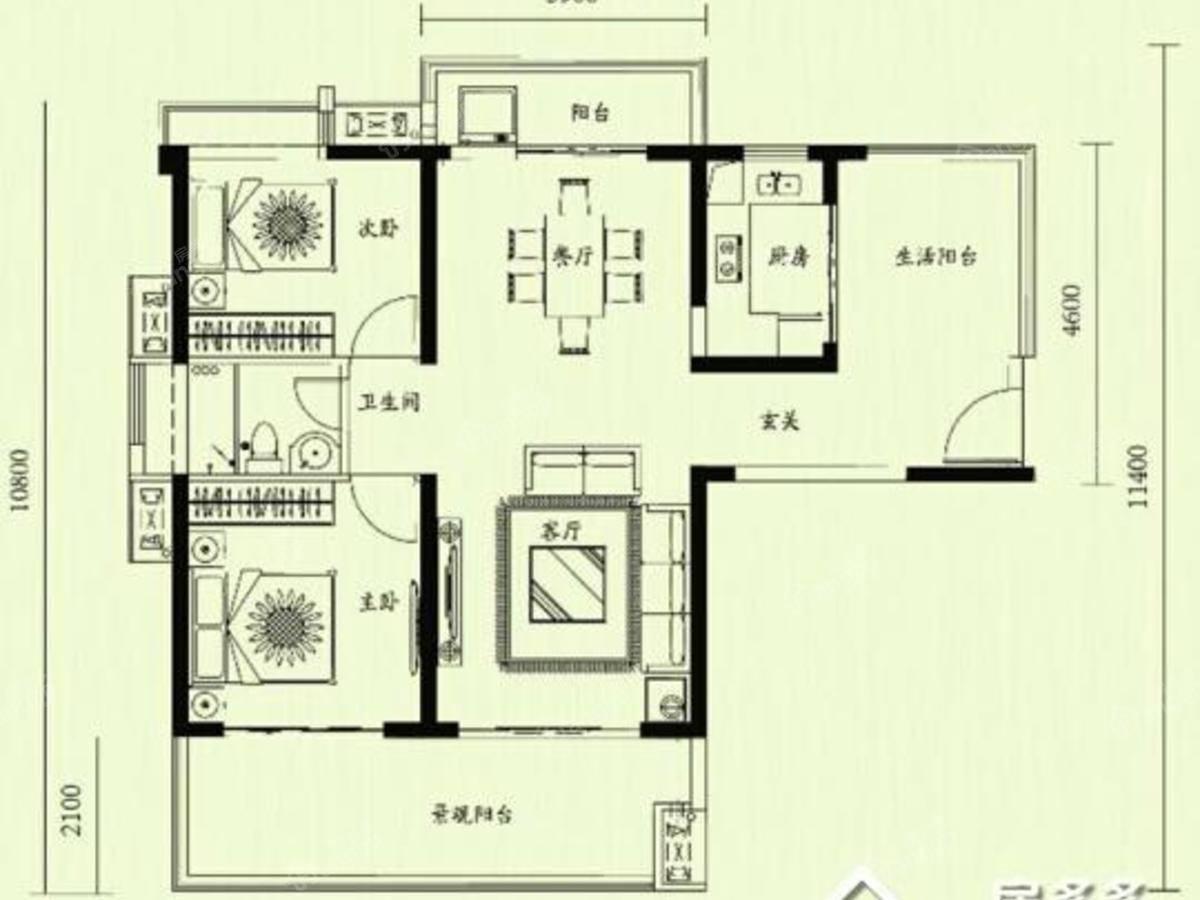 天隆三千海2室2厅1卫户型图