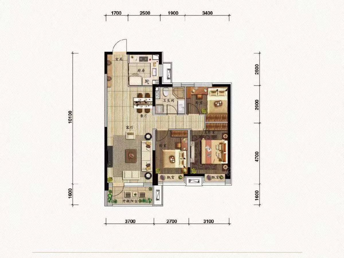 碧桂园御玺3室2厅1卫户型图