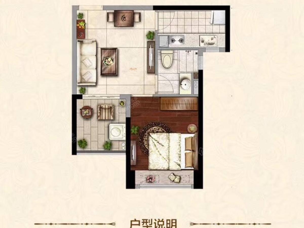恒大海上威尼斯1室1厅1卫户型图