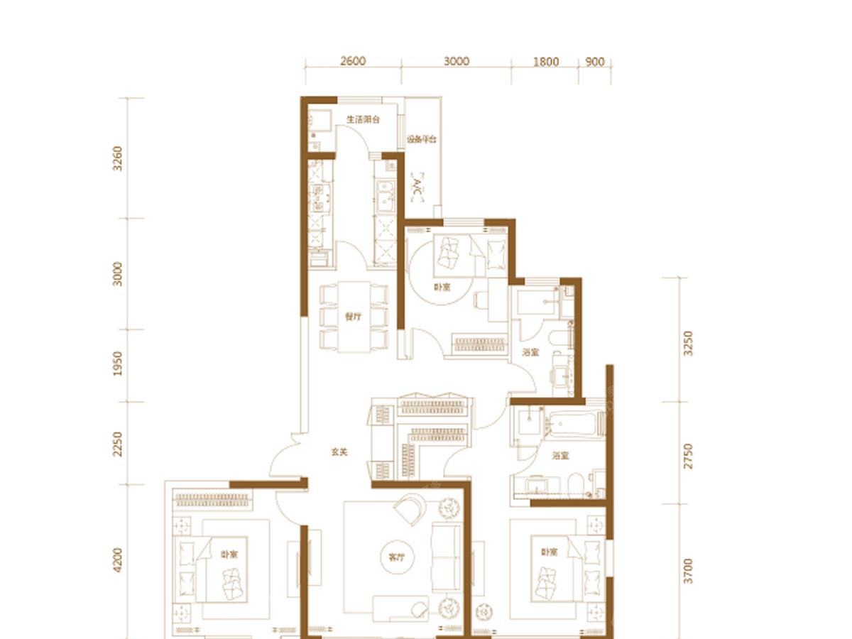 惠灵顿海上花苑3室2厅2卫户型图