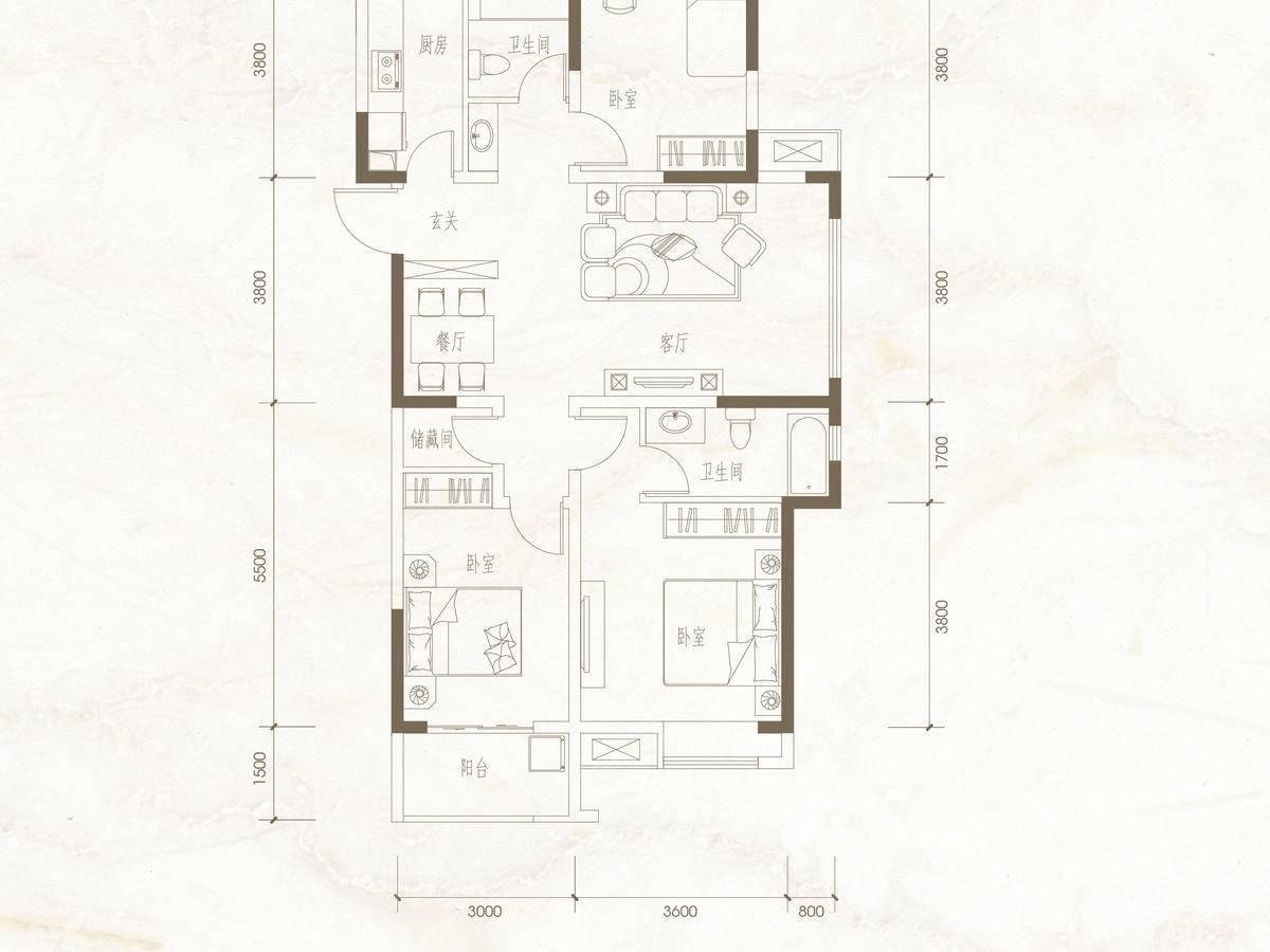 棠悦3室2厅2卫户型图