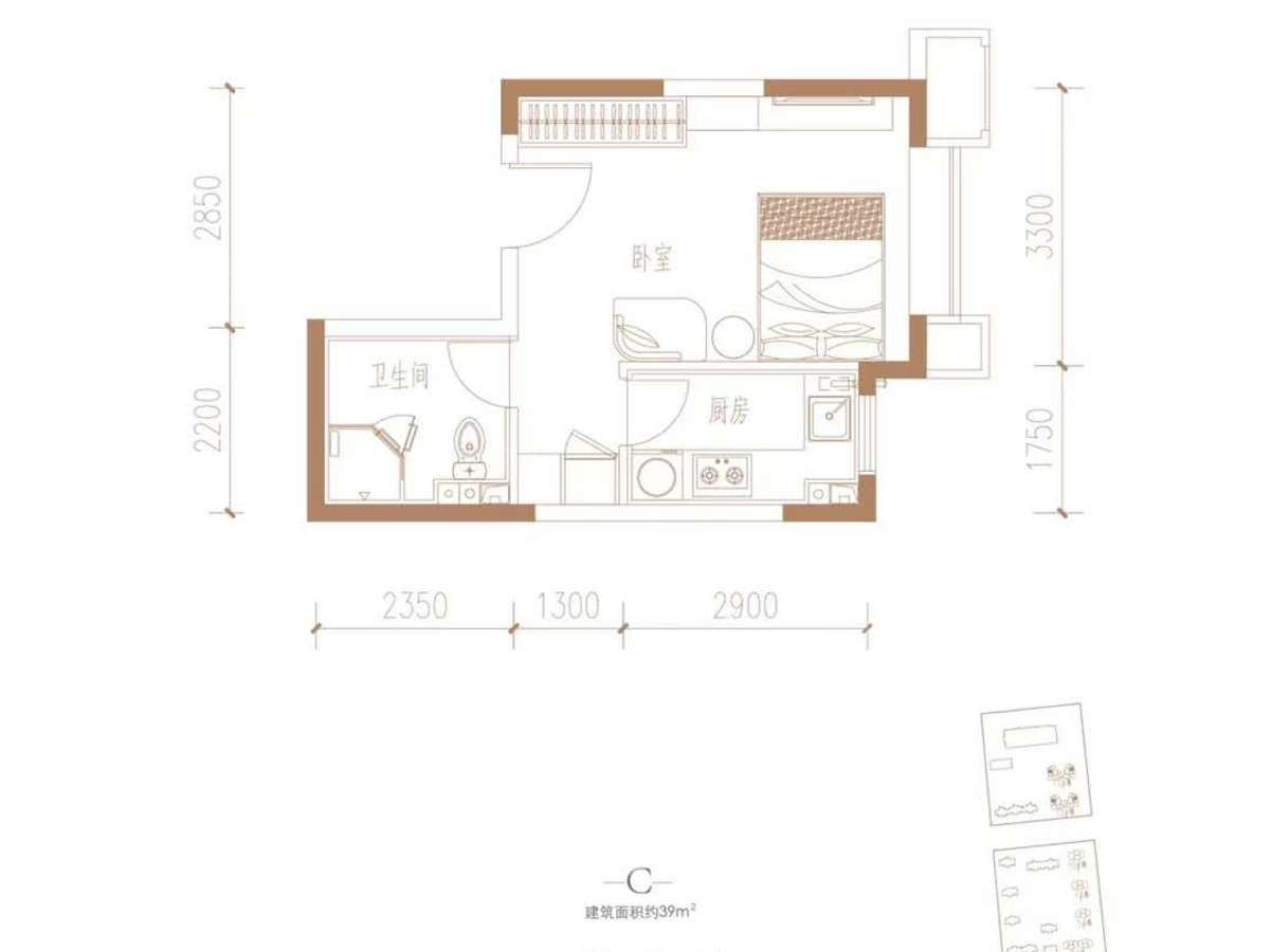 四季家园1室1厅1卫户型图
