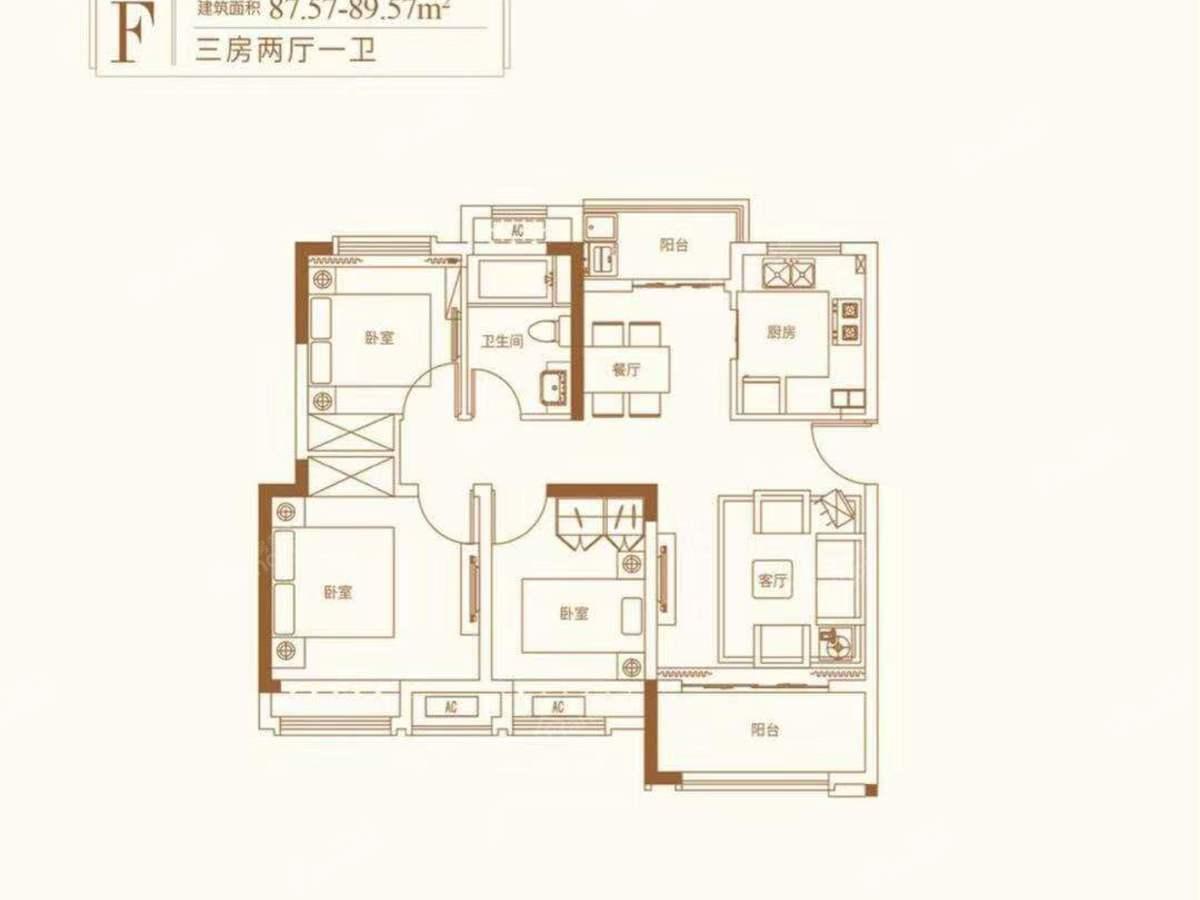 圣园3室2厅1卫户型图
