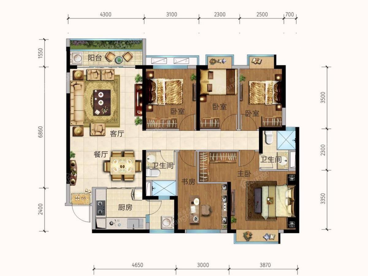 恒大城5室2厅2卫户型图