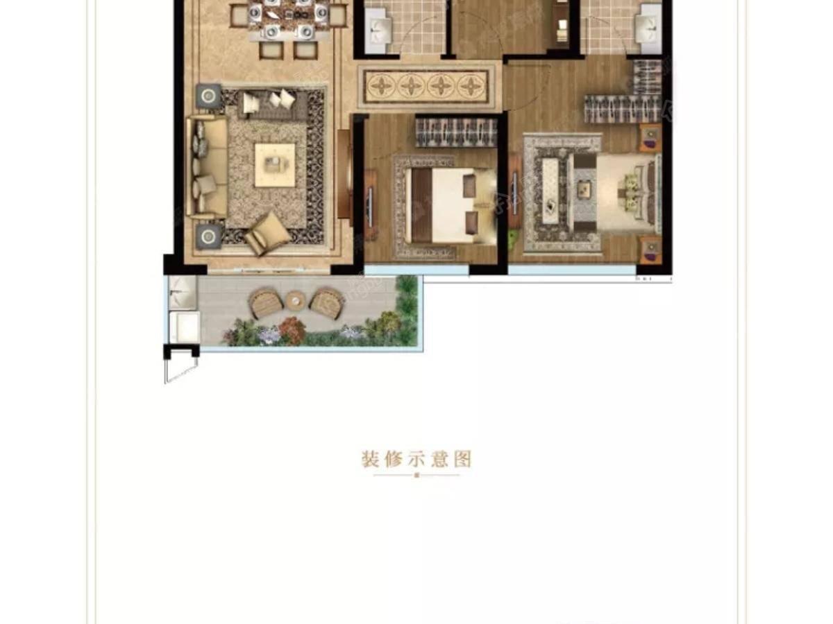 龙湖·云峰原著3室2厅2卫户型图
