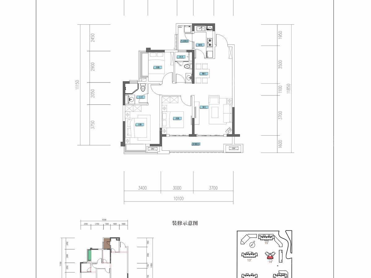 融创·海映兰屿3室2厅2卫户型图