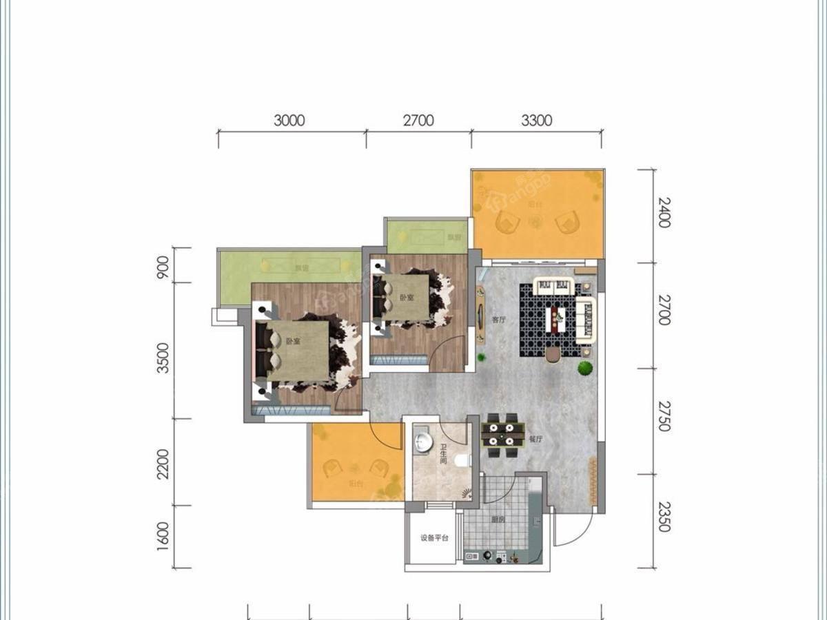 源梦·银溪谷2室2厅1卫户型图