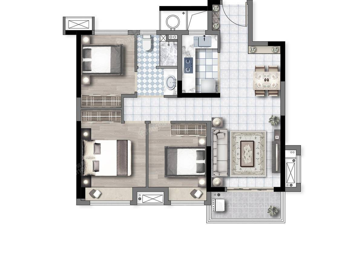 新浦西孔雀城·云樾东方3室2厅1卫户型图