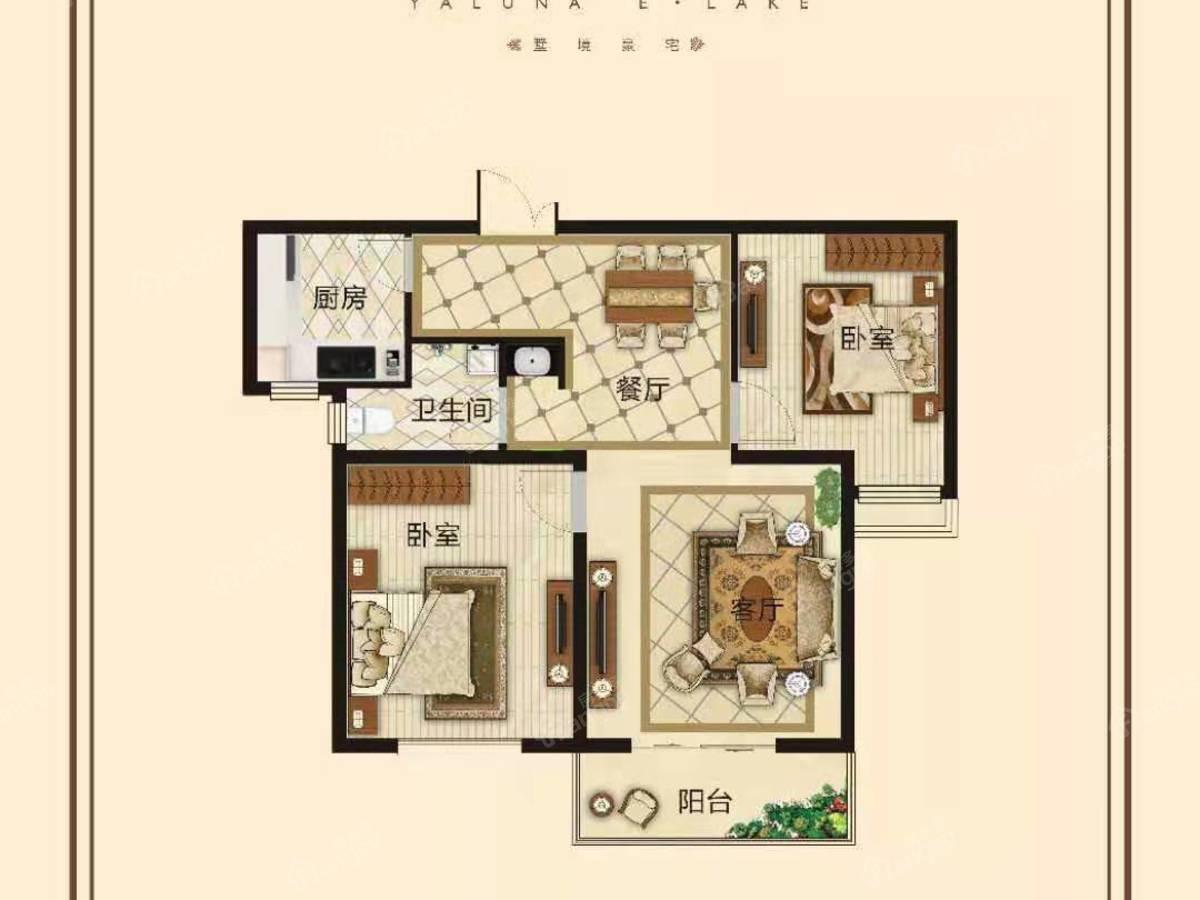 亚龙湾 东湖2室2厅1卫户型图