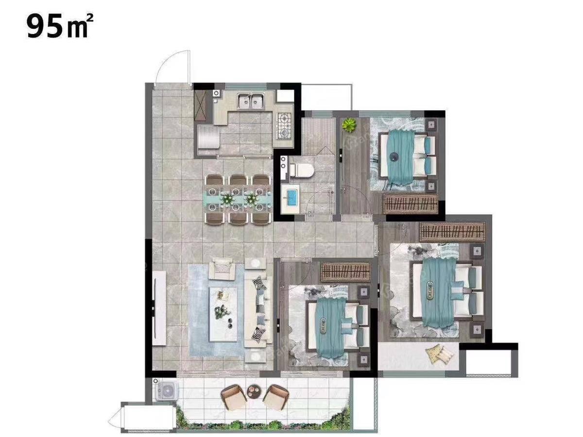 华侨城运河湾3室2厅1卫户型图