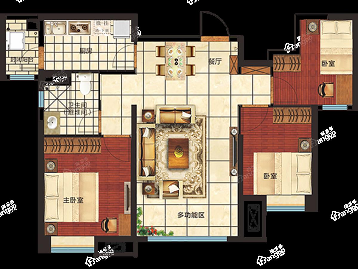 恒大绿洲3室2厅1卫户型图