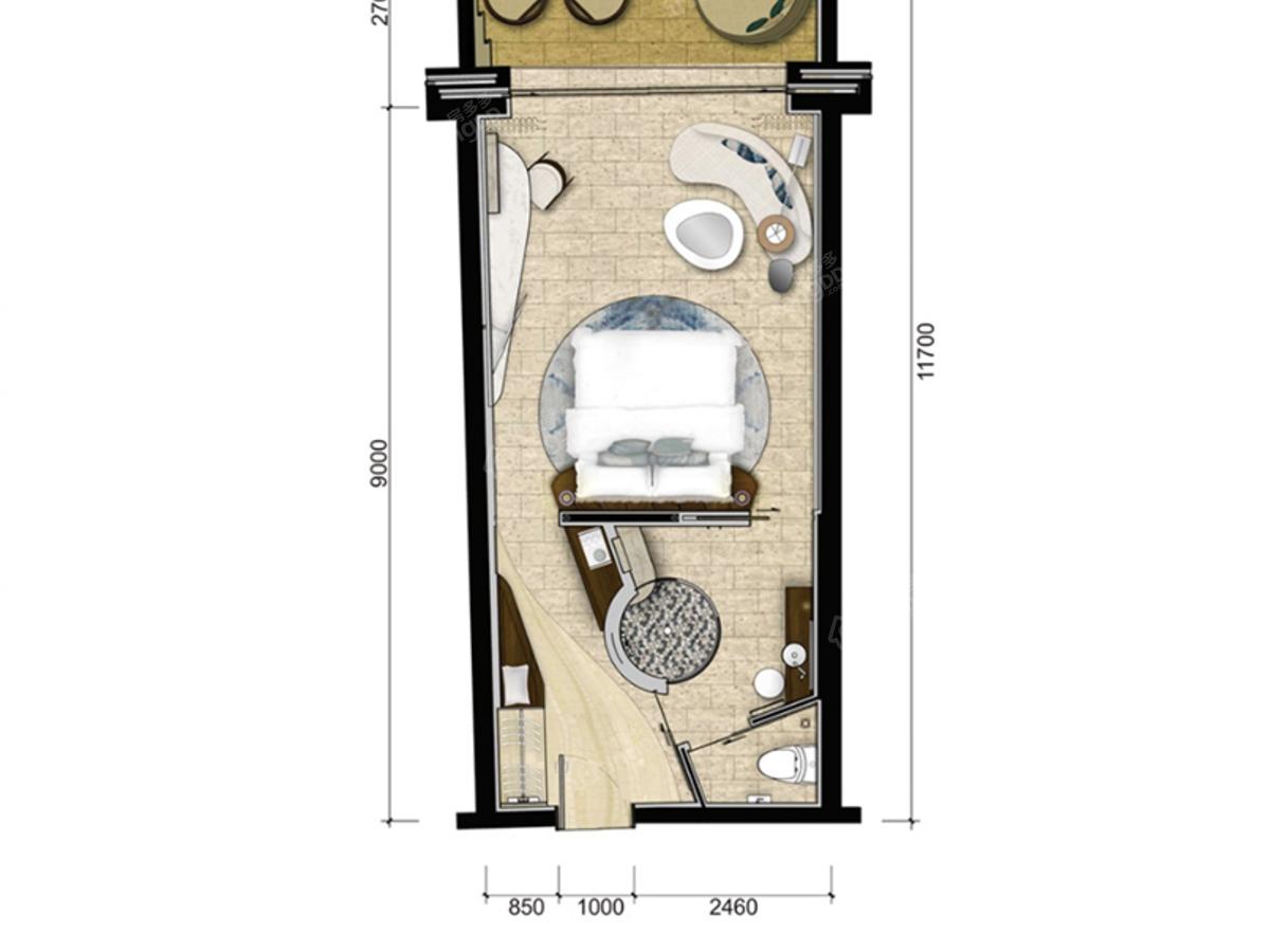 园方东山海1室1厅1卫户型图