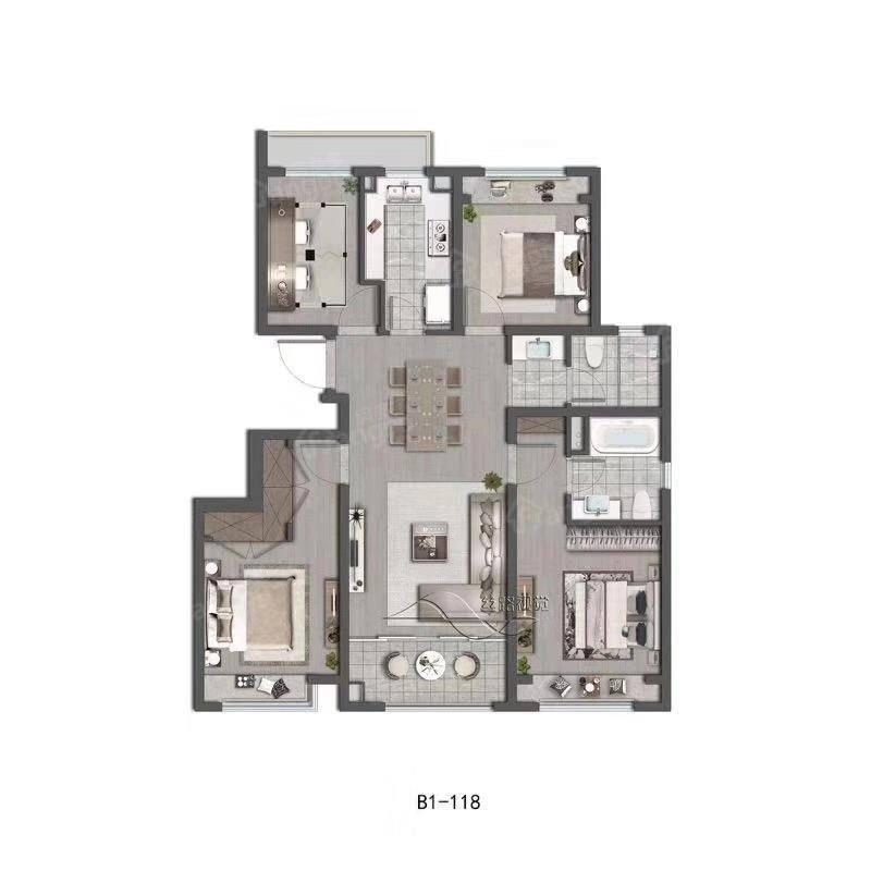 阳光城翡丽云邸4室2厅2卫户型图