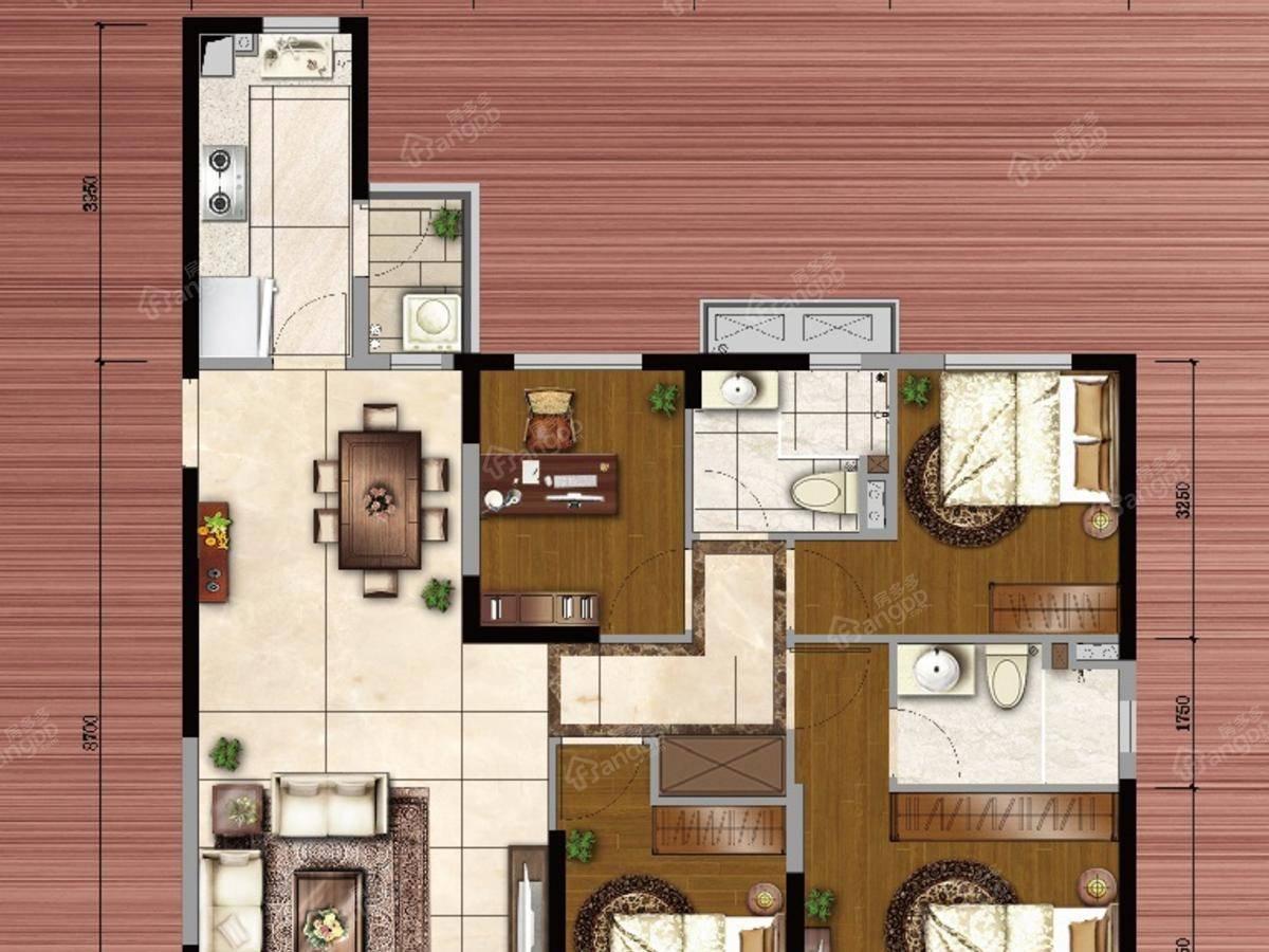 恒大海上威尼斯4室2厅2卫户型图