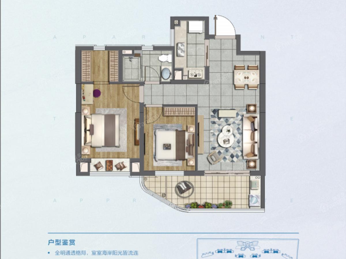 融创江语海2室2厅1卫户型图