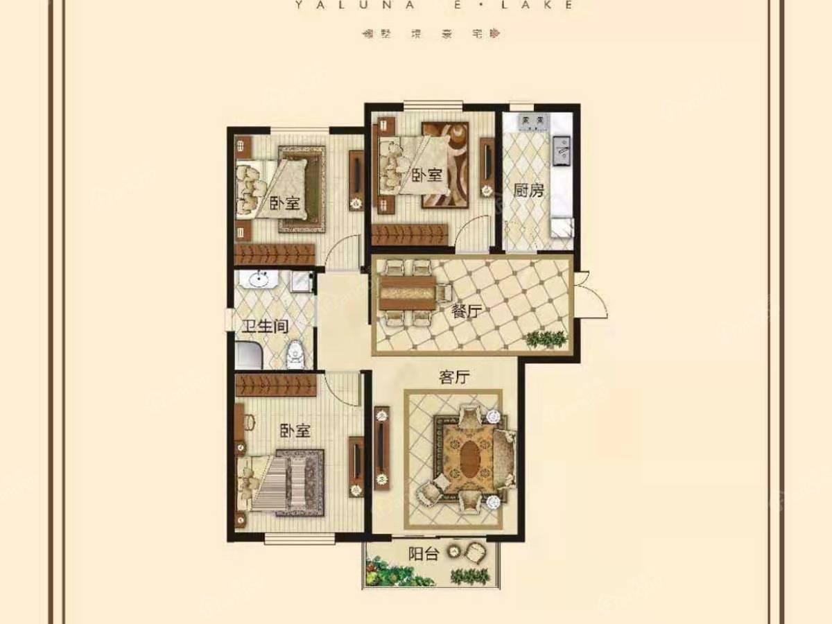 亚龙湾 东湖3室2厅1卫户型图
