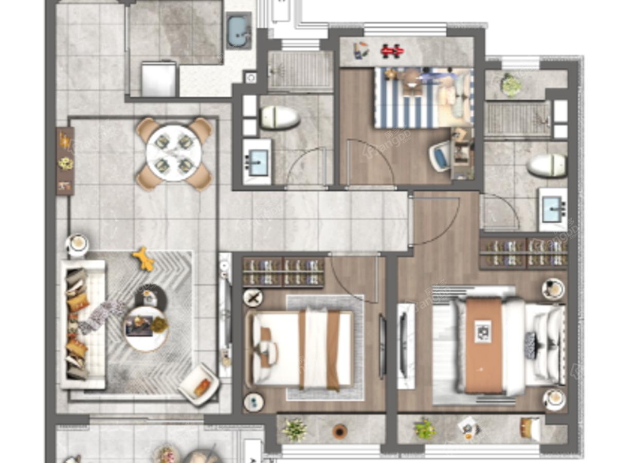 红星·宝山天铂3室2厅2卫户型图