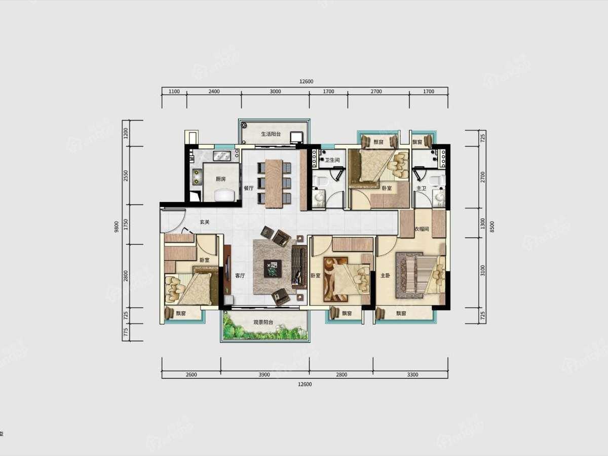唐商翰林府4室2厅2卫户型图