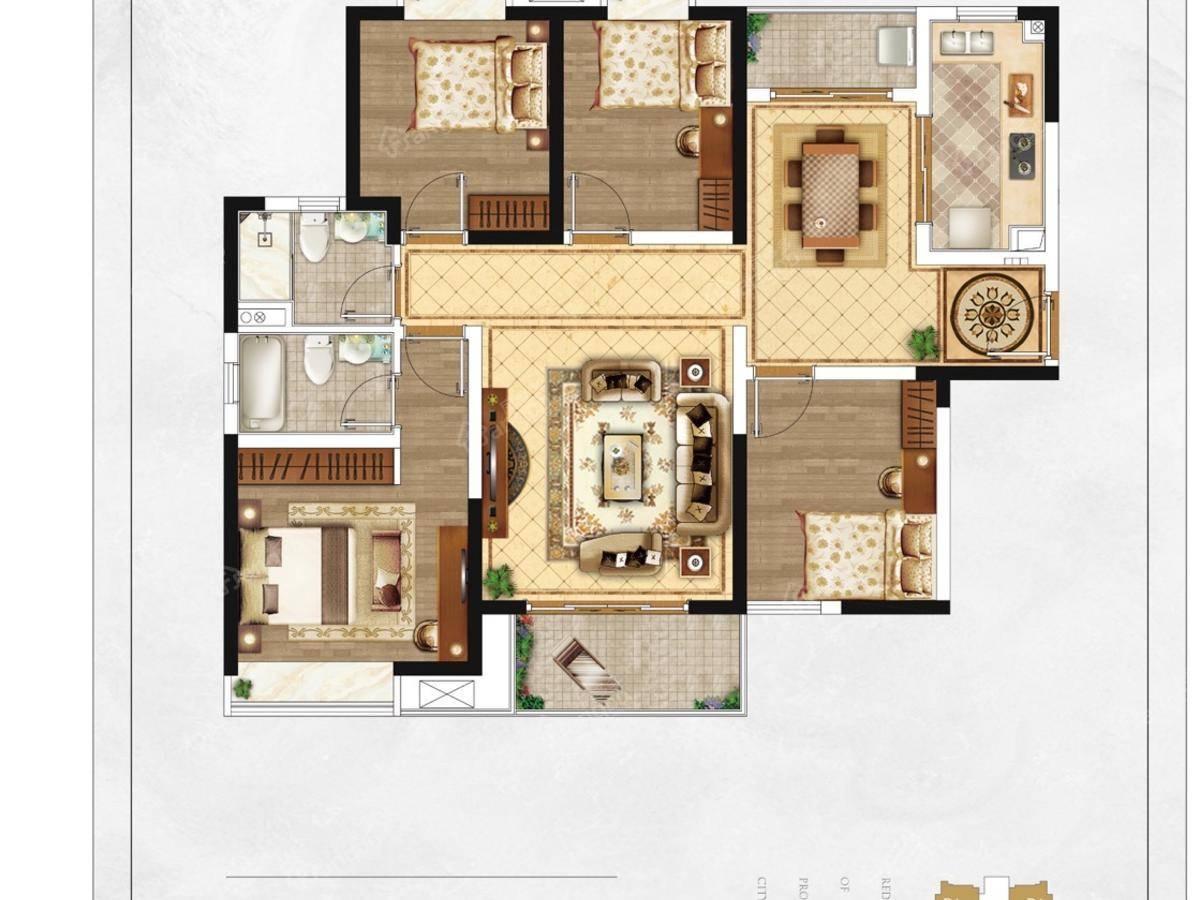 盘古园府4室2厅2卫户型图