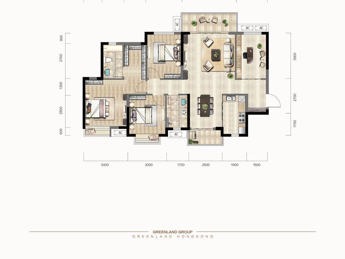 绿地交投中央公园4室2厅2卫户型图