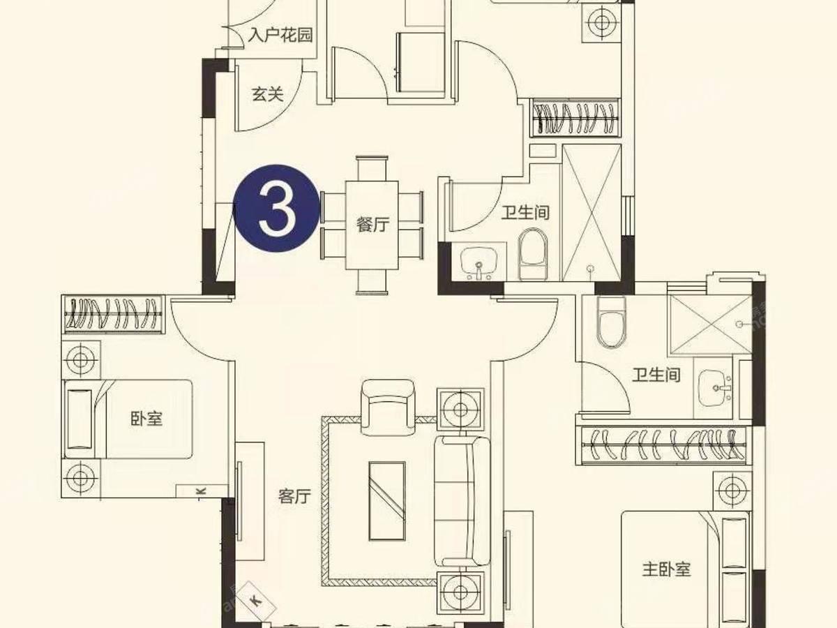 恒大世纪海岸3室2厅2卫户型图