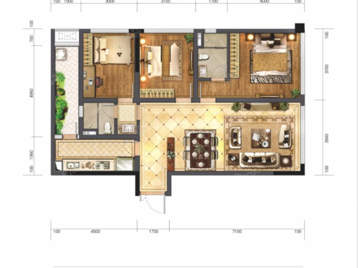 蓝光T-MAX3室2厅2卫户型图