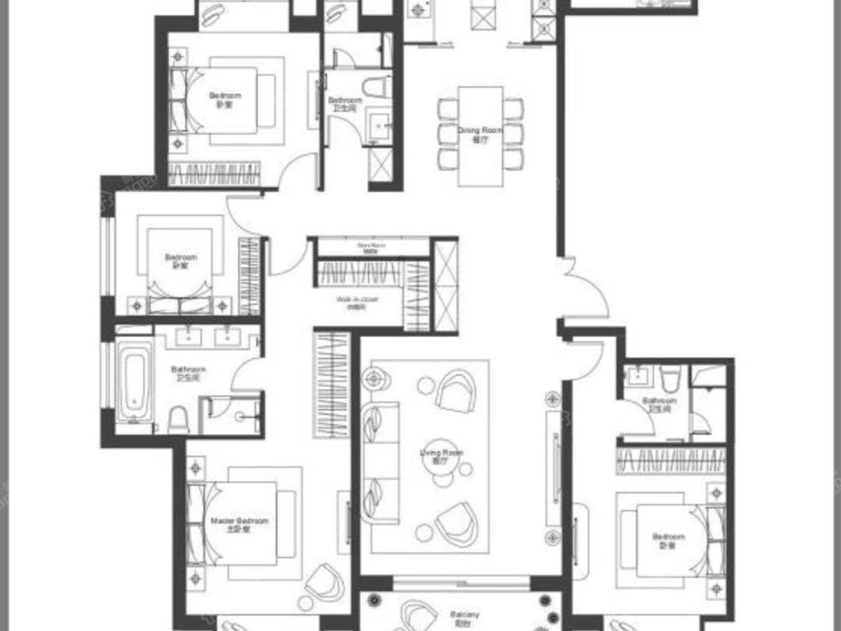 瑞虹新城天悦郡庭4室2厅3卫户型图