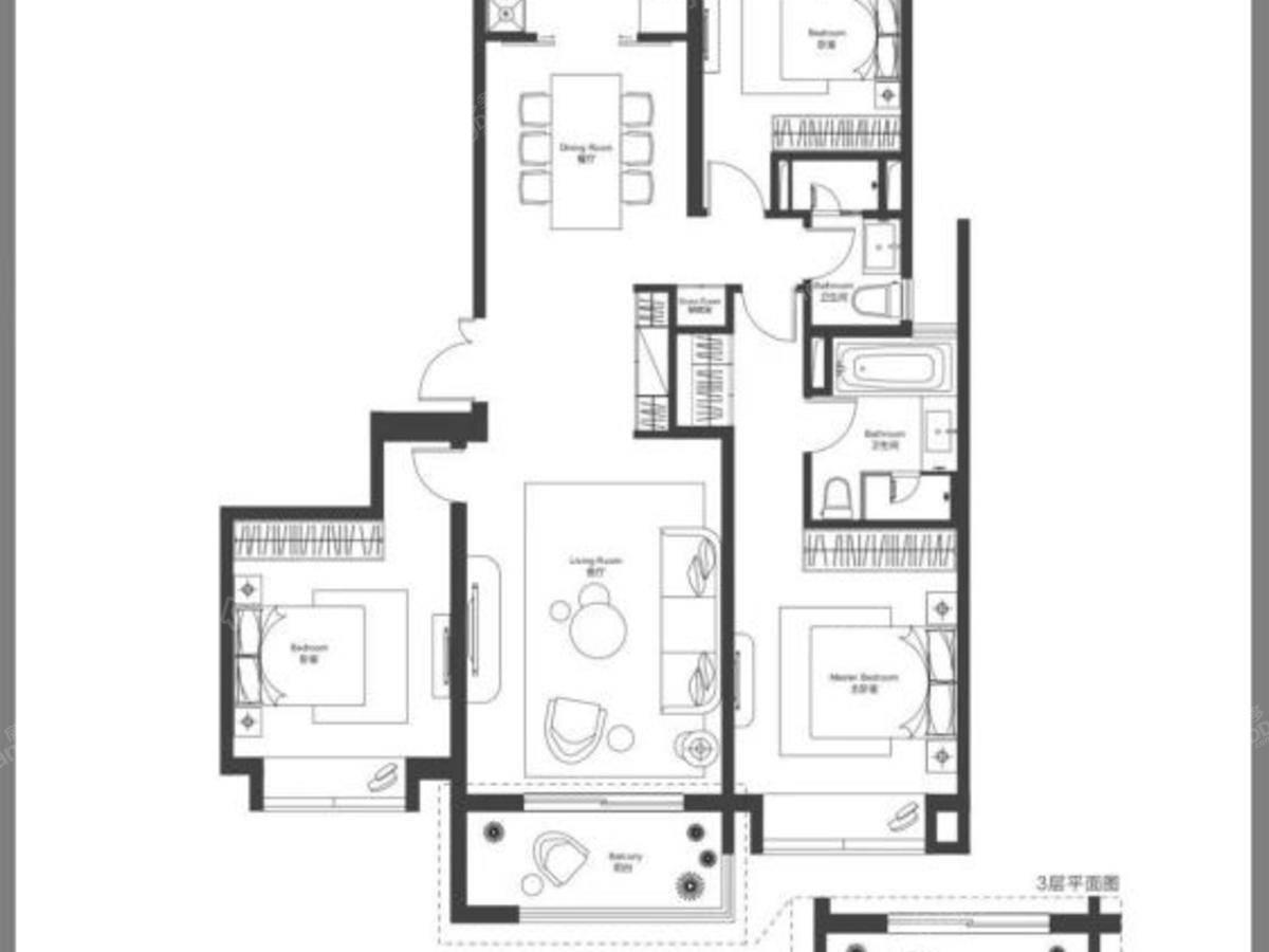 瑞虹新城天悦郡庭3室2厅2卫户型图