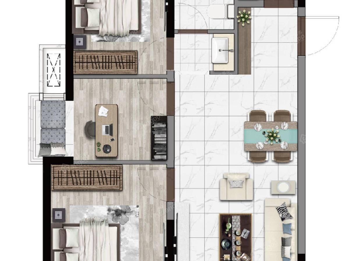 北海吾悦广场3室2厅1卫户型图