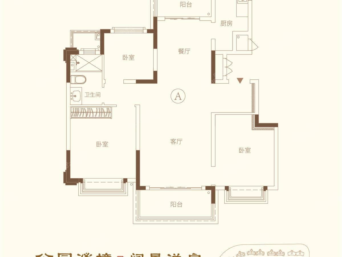 南通恒大林语郡3室2厅1卫户型图