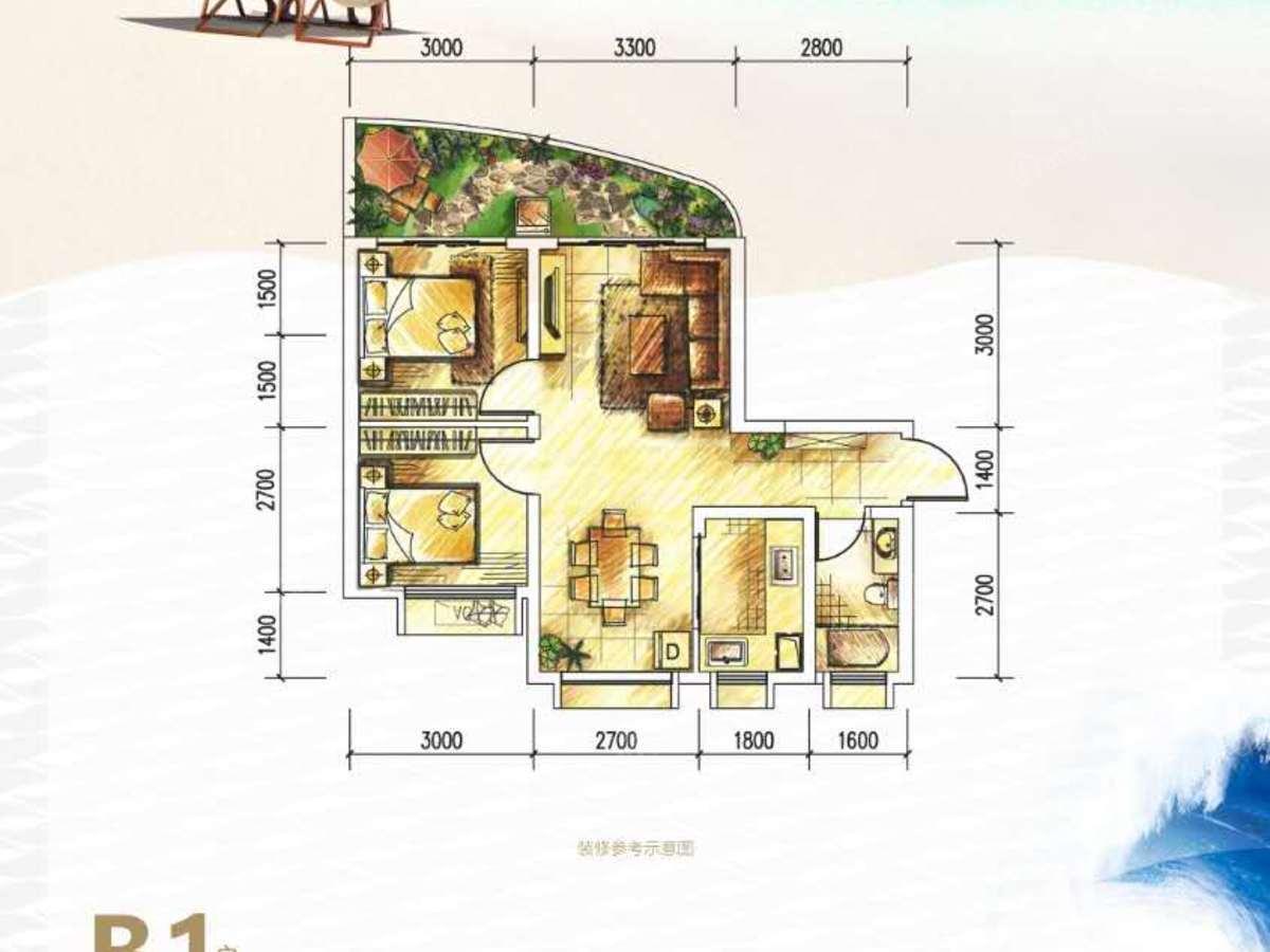 德利海北海2室2厅1卫户型图