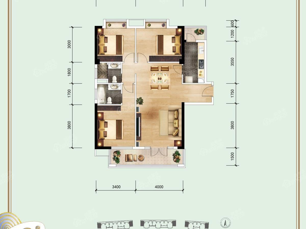 信基丽池澜湾3室2厅2卫户型图