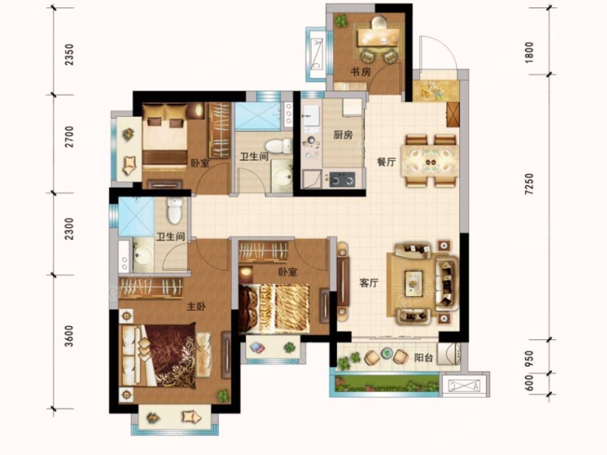 恒大城4室2厅2卫户型图