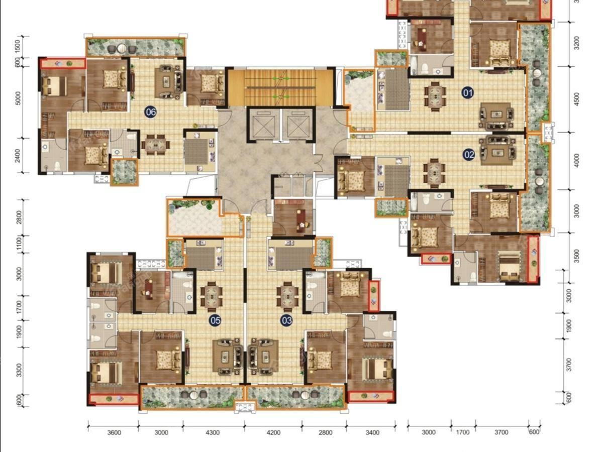 锦绣山水城4室2厅2卫户型图