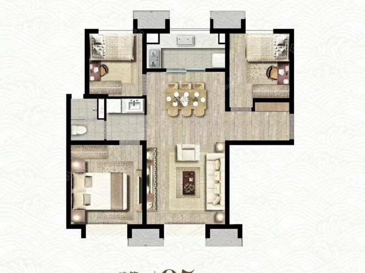 万科观澜3室2厅1卫户型图