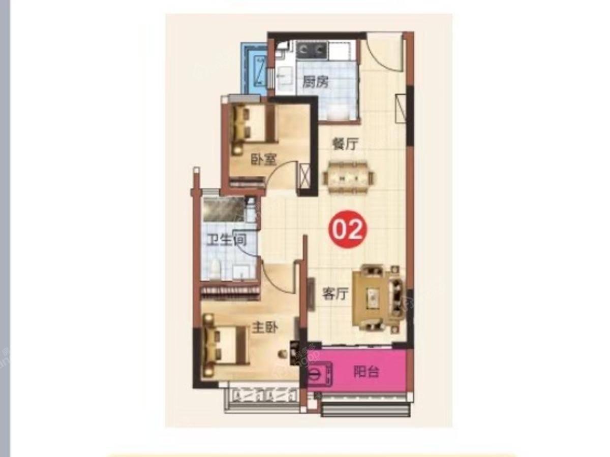 恒大科技旅游城2室2厅1卫户型图