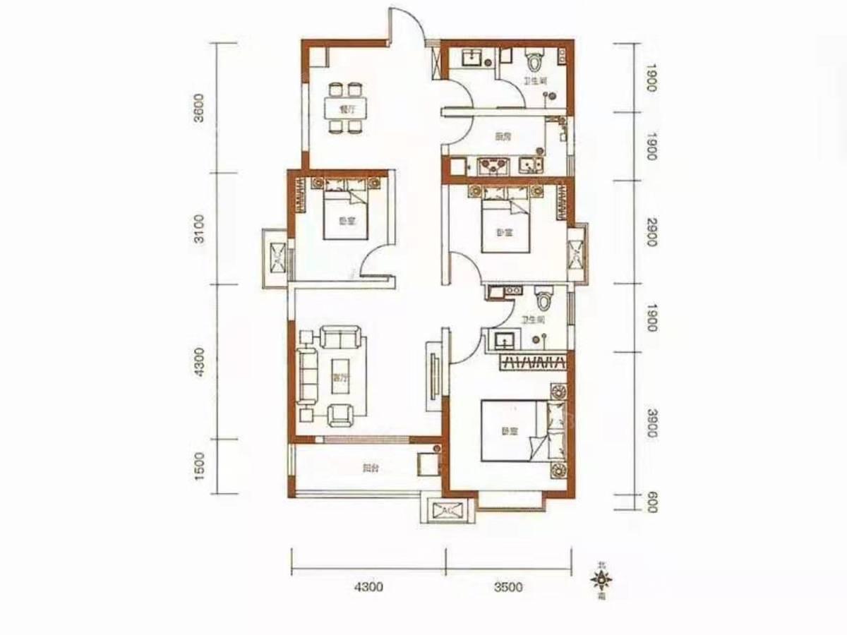 睿明居3室2厅2卫户型图