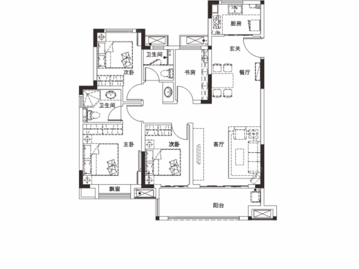 联发云璟4室2厅2卫户型图