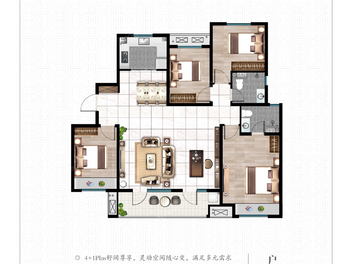 佳兆业悦峰4室2厅2卫户型图