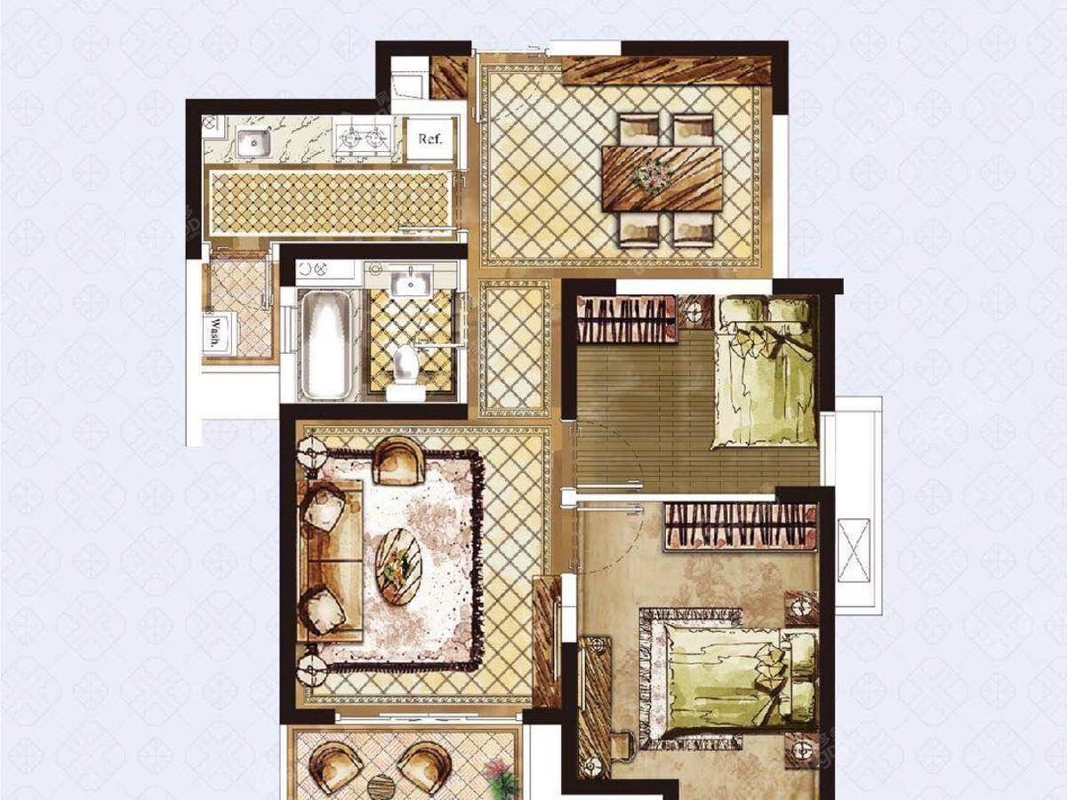 盘古园府2室2厅1卫户型图