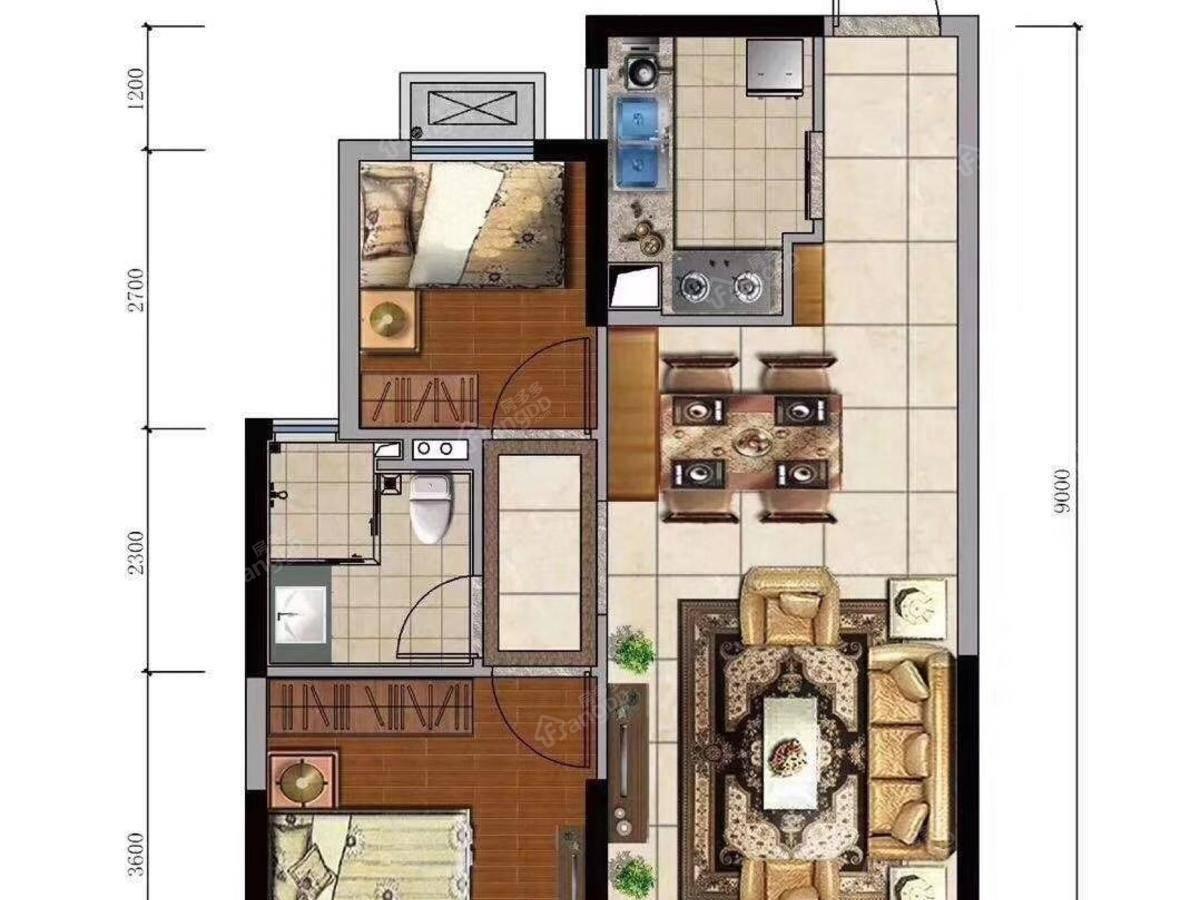 恒大海上威尼斯2室2厅1卫户型图