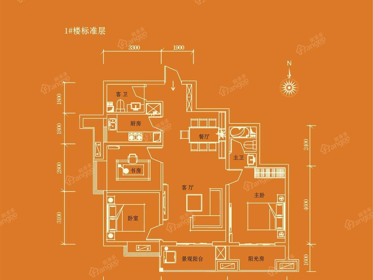 安建-阳光尚都3室2厅2卫户型图