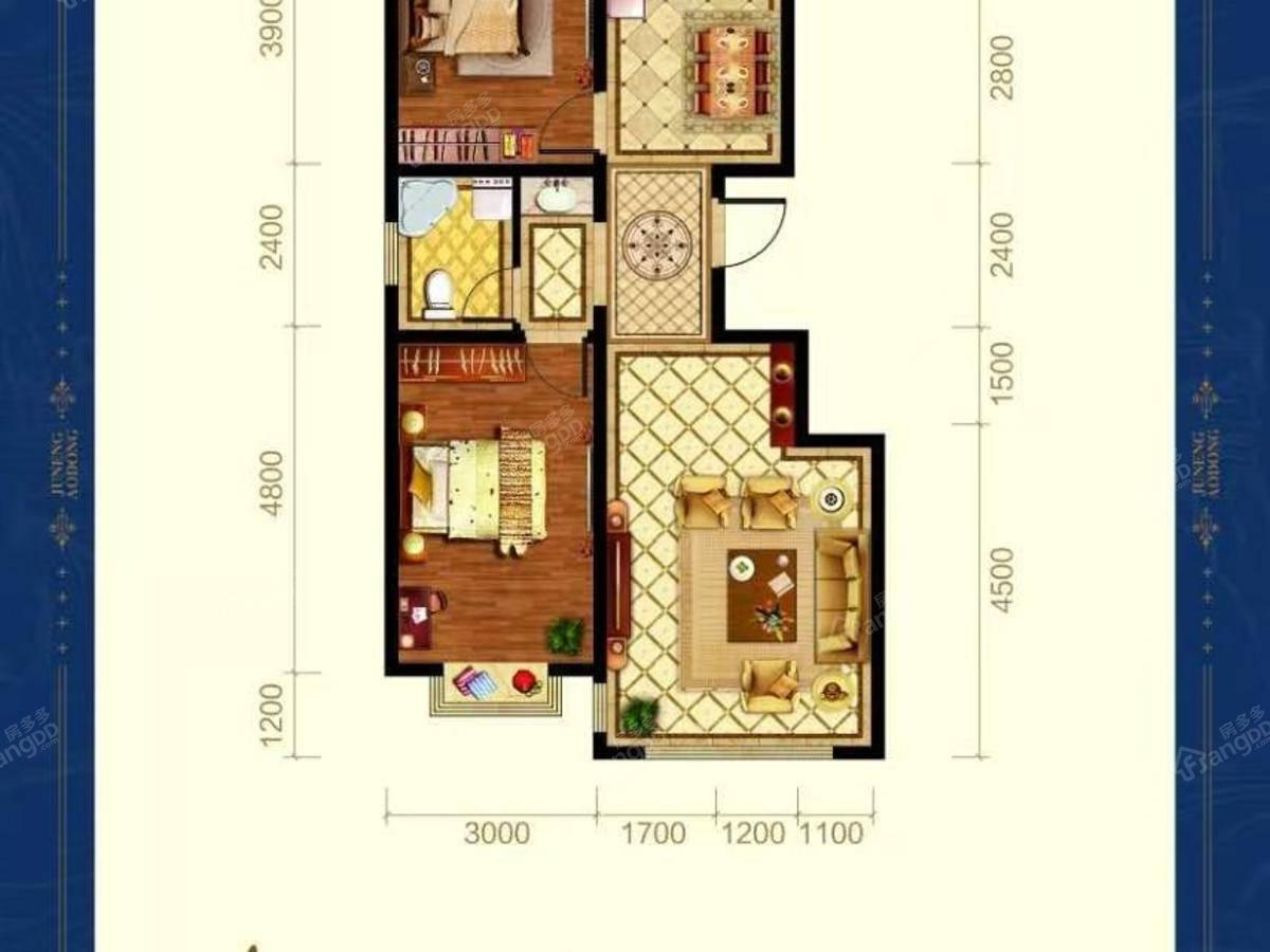 巨能澳东2室2厅1卫户型图