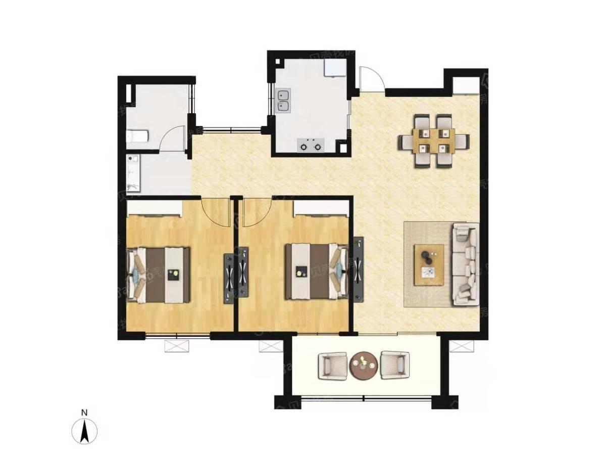 悦城华庭2室2厅1卫户型图