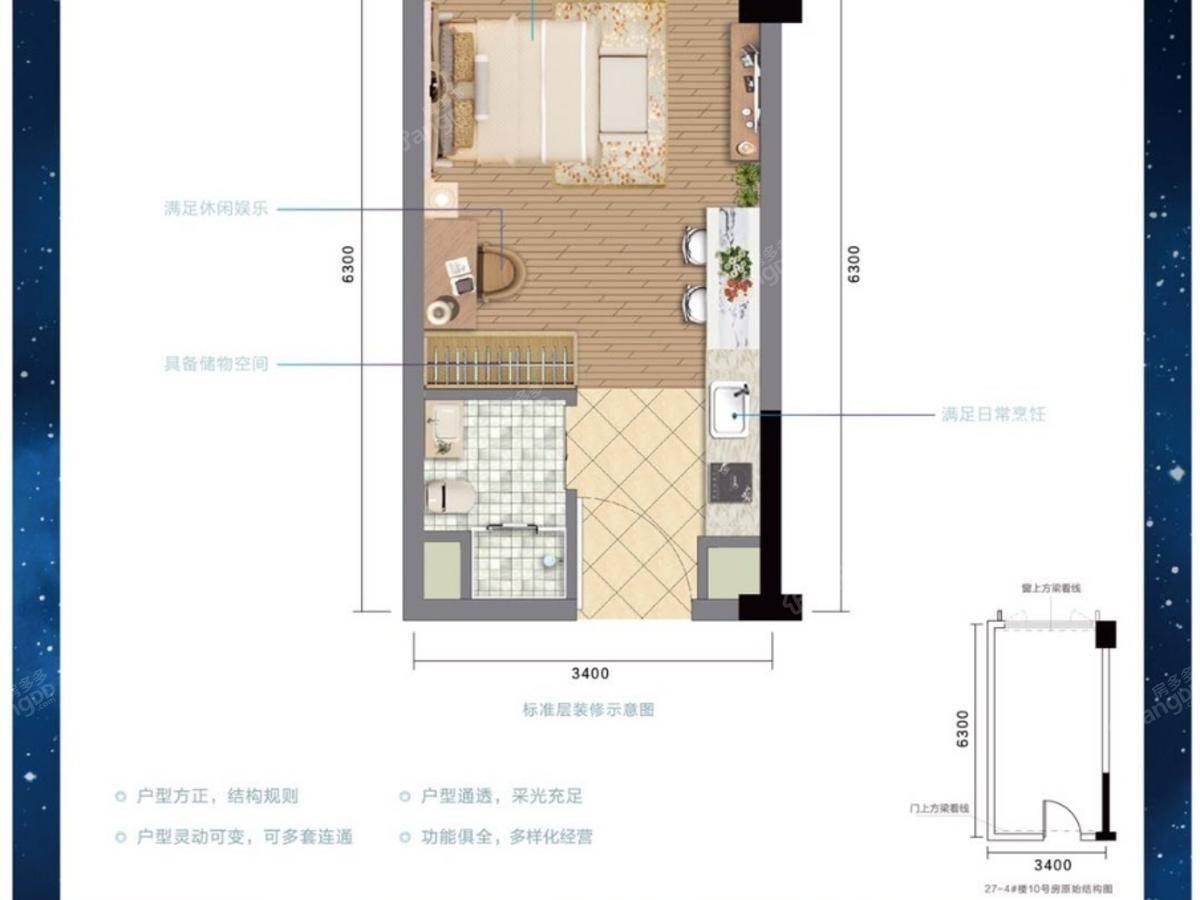 金科天宸1室1厅1卫户型图