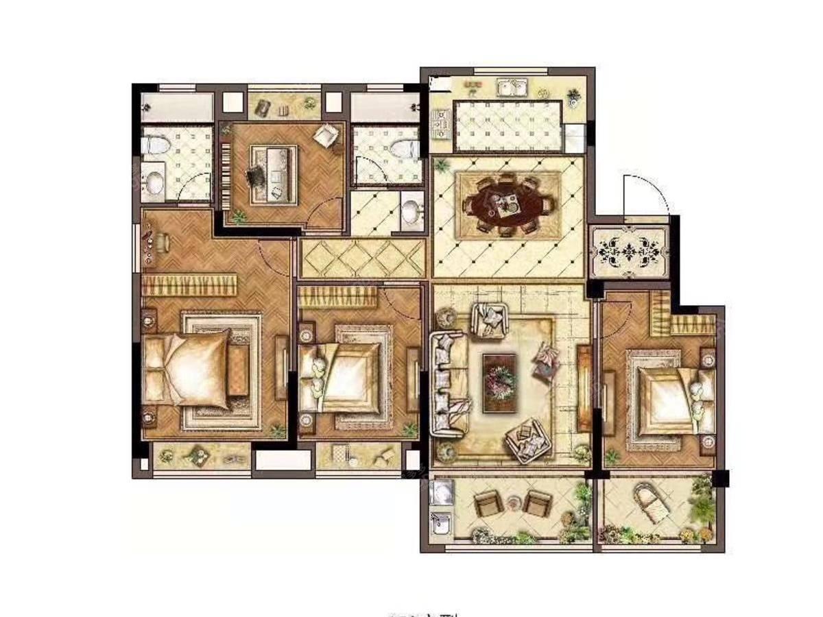 蓝湾华府4室2厅2卫户型图