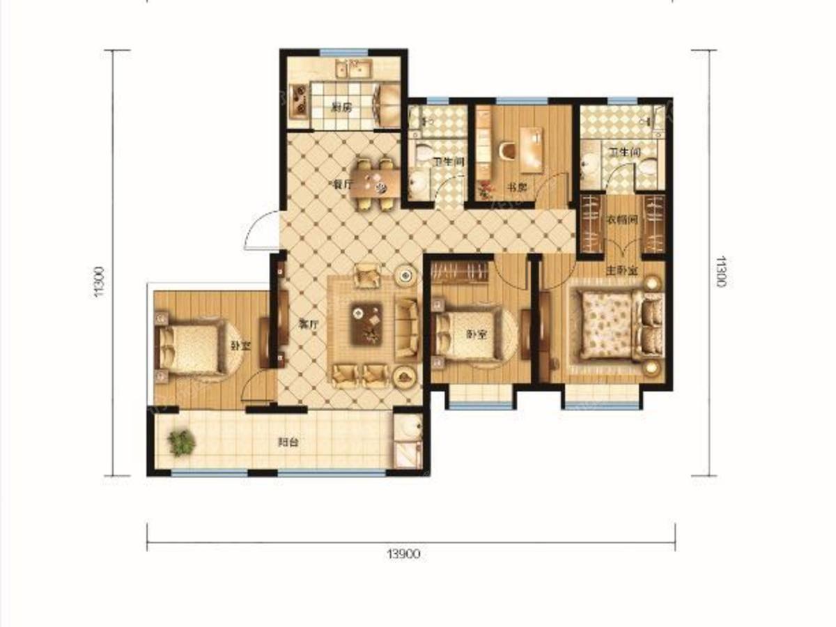 新鹏都·绿岛4室2厅2卫户型图