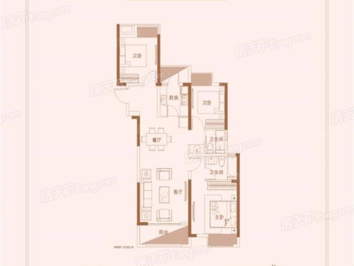 江铃时代城3室2厅2卫户型图