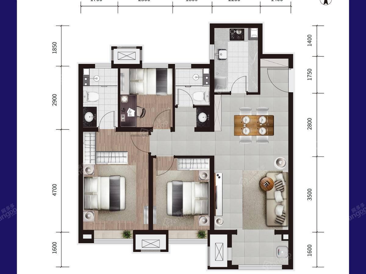 美的旭辉翰悦府3室2厅2卫户型图